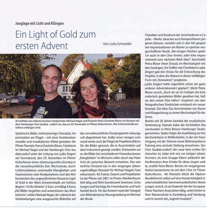 "Vorabinformation zum Konzert LIGHT OF GOLD im ""Plöner Seeblick""  November 2014"