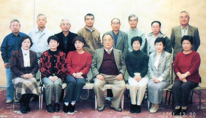 ▲筑波山のホテルで開いた運営会議(月例会)を終えての記念撮影   【2001年12月】