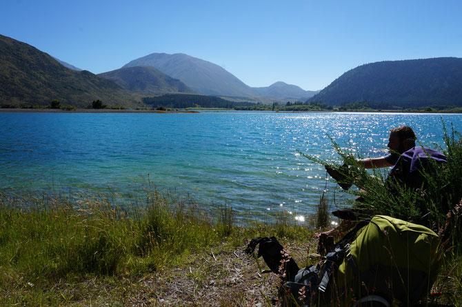 Nach einem kurzen Bad im eiskalten Lake Coleridge