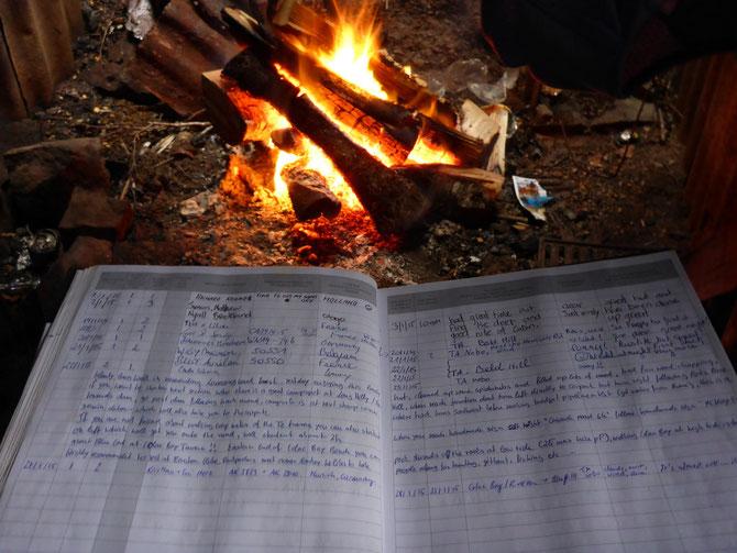 Hüttenbuch am Feuer