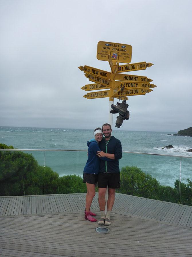 Stirling Point in Bluff - der südlichste Punkt auf der Südinsel und Endpunkt unserer großen Reise