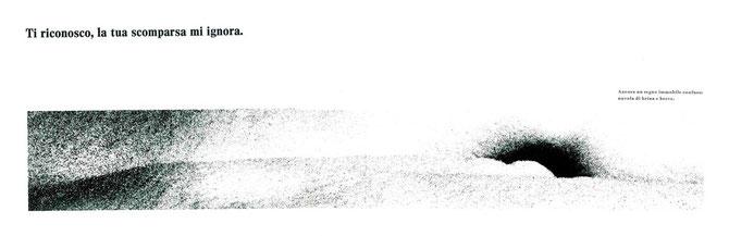 doppia pagina con fotografia originale e stampa tipografica