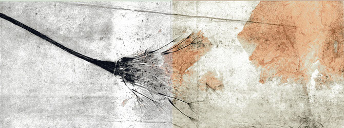 incisione originale a doppia pagina di Elisbetta Diamanti con interventi in grafite - 20x53 cm