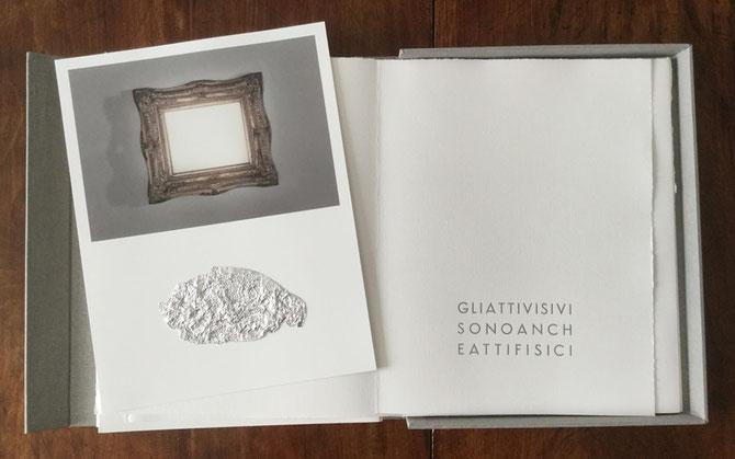 fotografia originale con intervento a collage e pagina tipografica stampata in argento