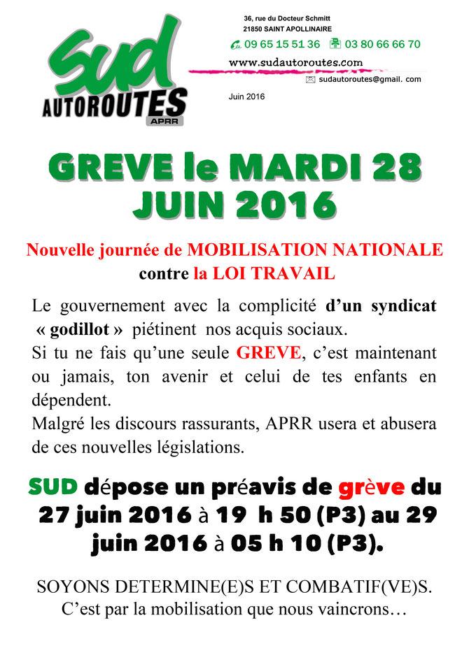 SUD en grève le 28 juin 2016 contre la loi travail
