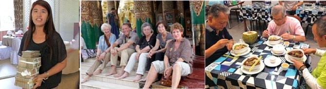 紙幣を運ぶレストラン従業員、寺院で会ったドイツ人観光客、デザート付き500円の中華料理