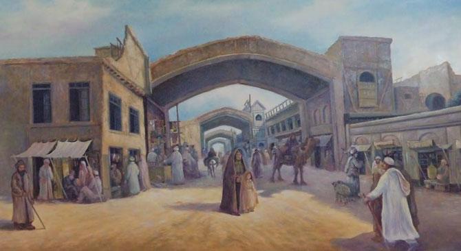 بازار چهارچت کابل، نقاشی استاد اسدالله سروری