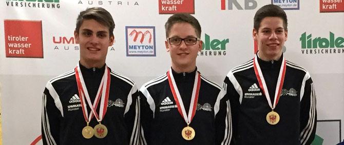 Unsere erfolgreichen Schützen (v.l.): Manuel Moser, Julian Anrain und Thomas Kostenzer