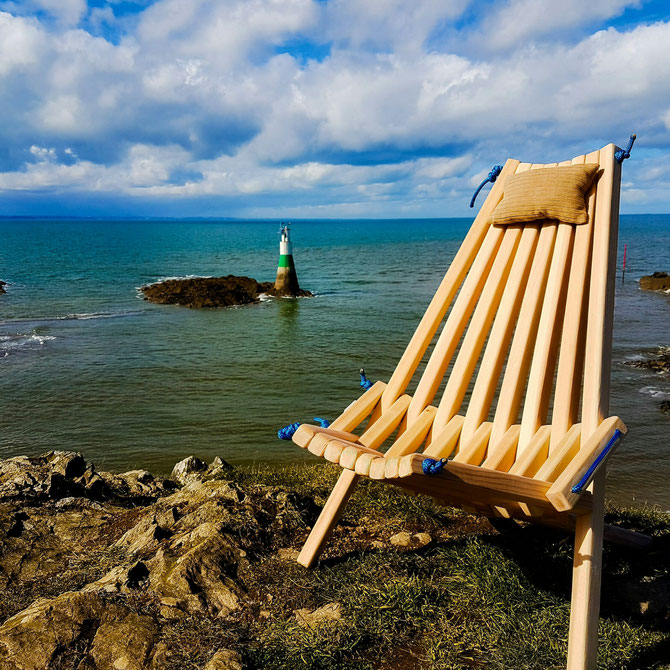 Chaise MOLENE en pin d'Oregon cordage bleu