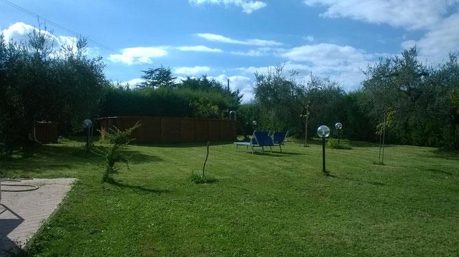 Piscina e  giardino con sdraio