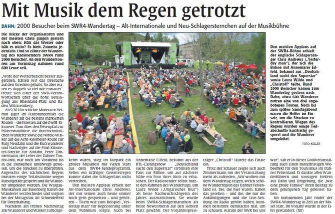 Nachberichterstattung, Rheinpfalz, Pirmasenser Rundschau, 07. Mai 2012