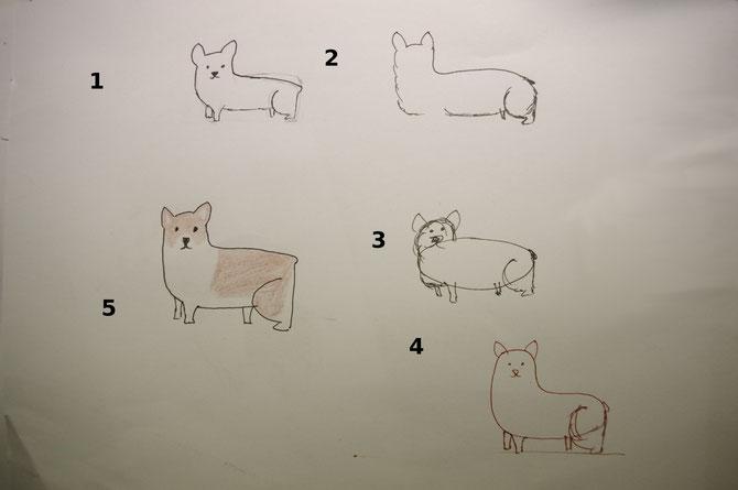 Die ersten Versuche nach einer how to draw corgis Anleitung waren eher unerfreulich
