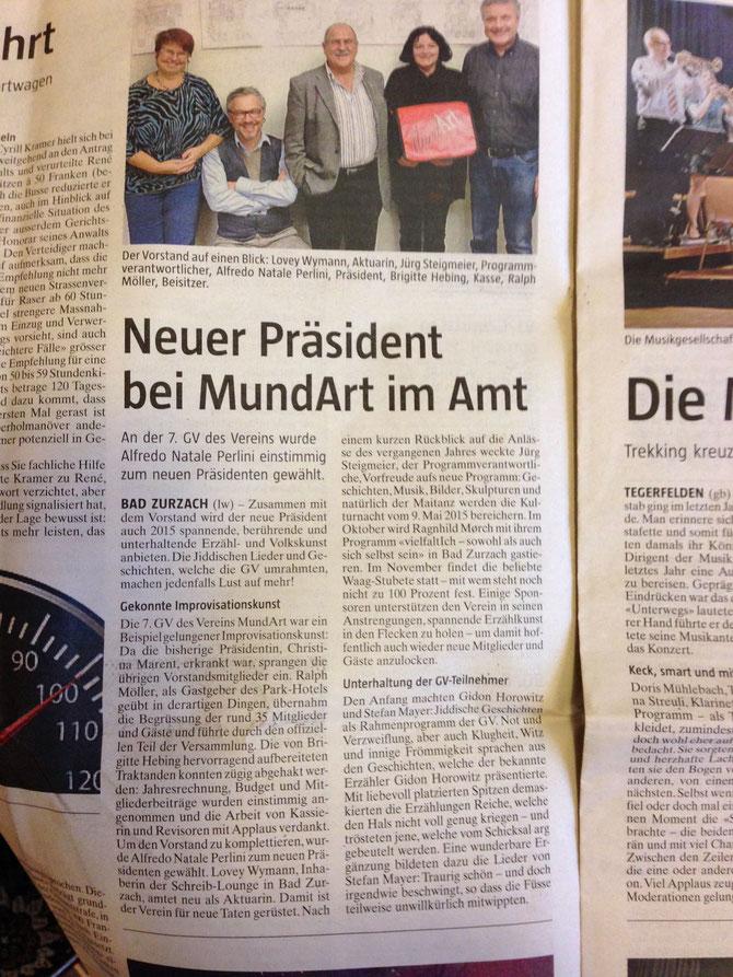 Bericht aus der Botschaft über die 7. GV des Vereins MundArt Bad Zurzach