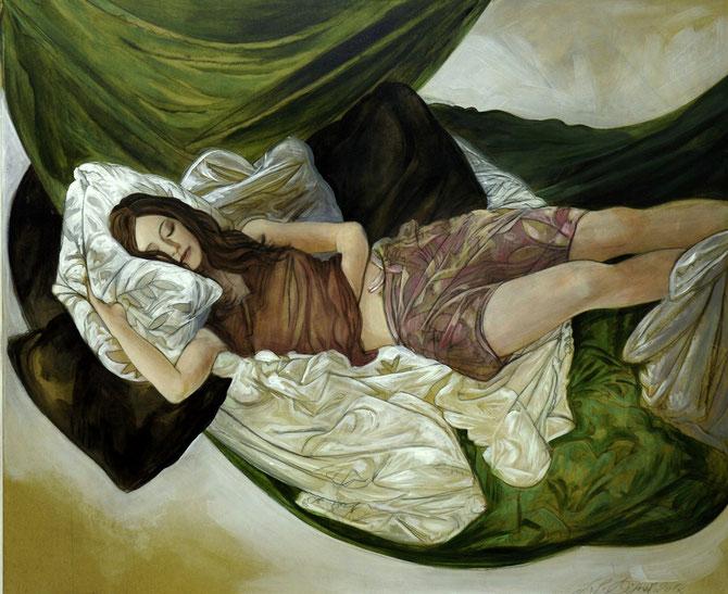 "Lukas Johannes Aigner, ""Claudia"", Acryl auf MDF, 100x120cm, 2012"