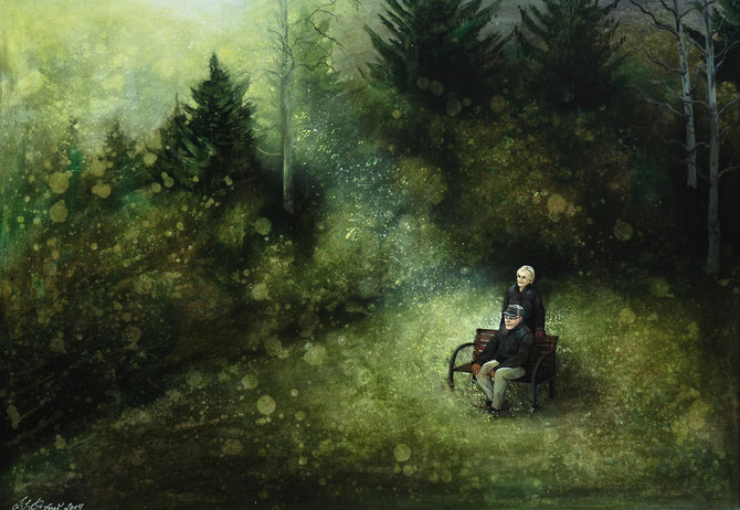 "Lukas Johannes Aigner, ""Ursula&Günter"", Acryl auf MDF, 68x94cm"