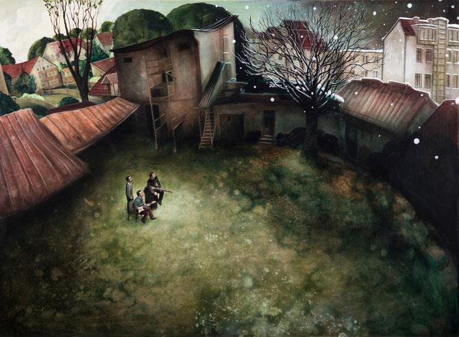 "Lukas Johannes Aigner, ""DaLenz"", Acryl auf MDF, 160x200cm, 2014"