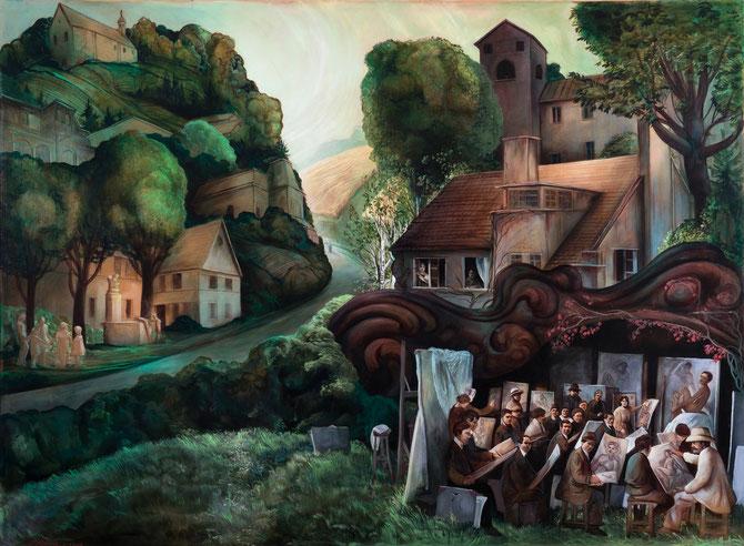 """Lukas Johannes Aigner, """"An der frischen Luft"""", Acryl auf MDF, 140x200 cm, 2013"""