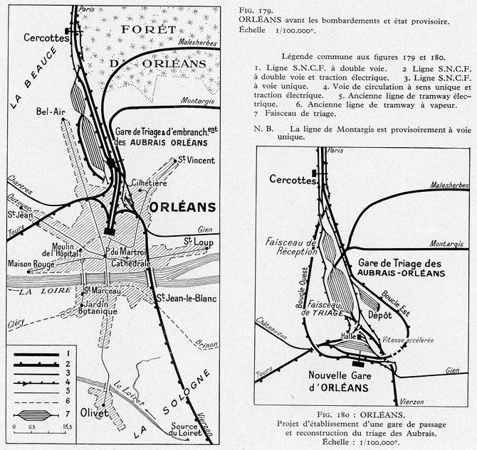 Plan du complexe ferroviaire orléanais avec à droite le projet de construction d'une nouvelle gare de passage, envisagée après la Seconde Guerre Mondiale, mais non réalisée.