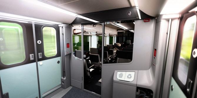 Plateforme d'accès du Coradia Liner, avec la présence d'une cloison de séparation avec l'espace voyageurs. Document Alstom
