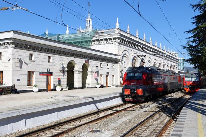 La gare de Sochi, qui a été totalement rénovée à l'occasion des Jeux Olympiques. 21 octobre 2013. Cliché Pierre BAZIN