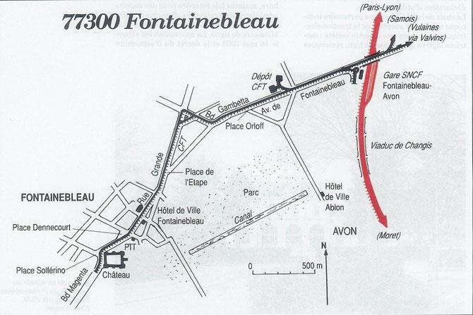 Plan de la ligne Gare - Château. Document Encyclopédie de Chemins de Fer/Connaissance du Rail