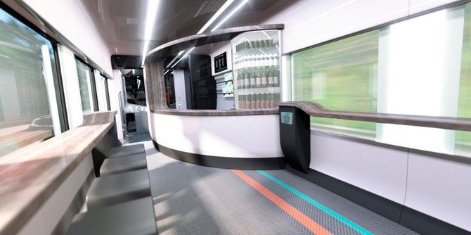 En option, le Coradia Liner pourra éventuellement être équipé d'un bar. Document Alstom