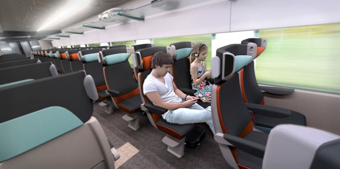 Aménagement de seconde classe du Coradia Liner. Document Alstom