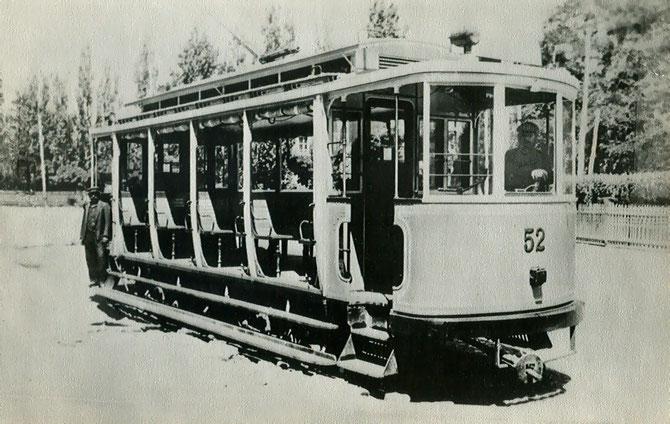 Motrice ouverte construite en 1909. Photo gracieusement fournie par l'association STTS (site internet www.transphoto.ru)