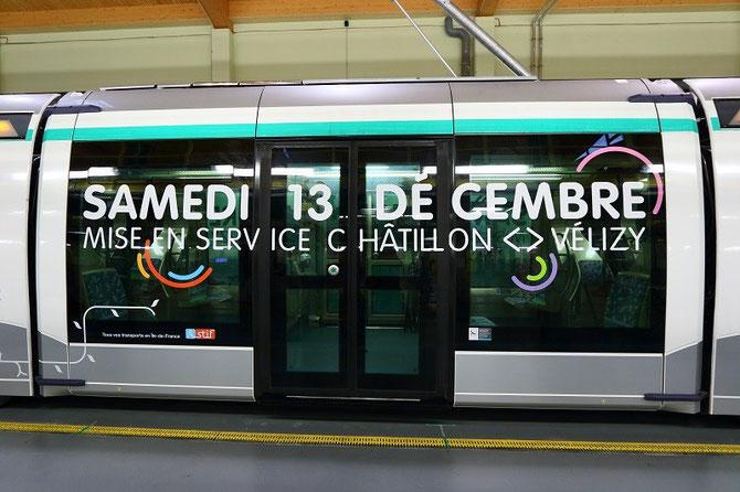 Paris T6. Rame Translohr inaugurale au centre de maintenance de Vélizy-Villacoublay