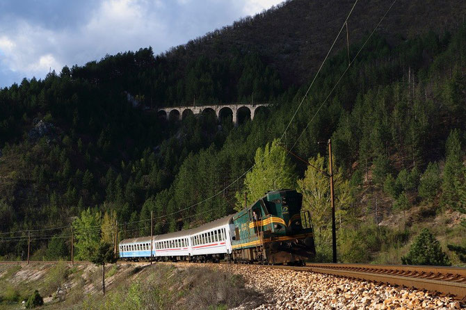 En avril 2014, train spécial PTG sur la ligne Sarajevo - Mostar, en Bosnie-Herzégovine. Cliché Pierre BAZIN