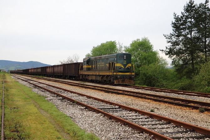 Diesel ŽFBH 661-268 + tombereaux à charbon en gare de Petrovo-Novo