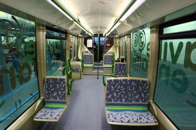 Intérieur rame Translohr STE6. Paris. RATP. Ligne T6