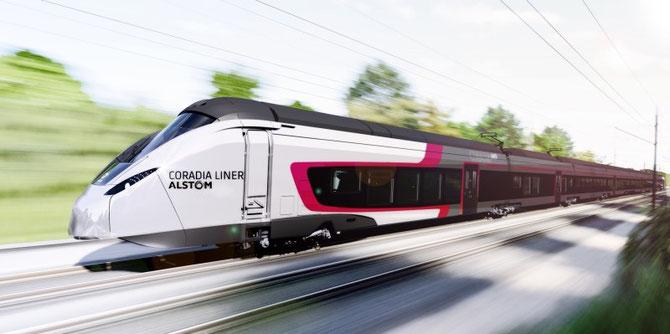 Image de synthèse du futur Coradia Liner v200. Document Alstom