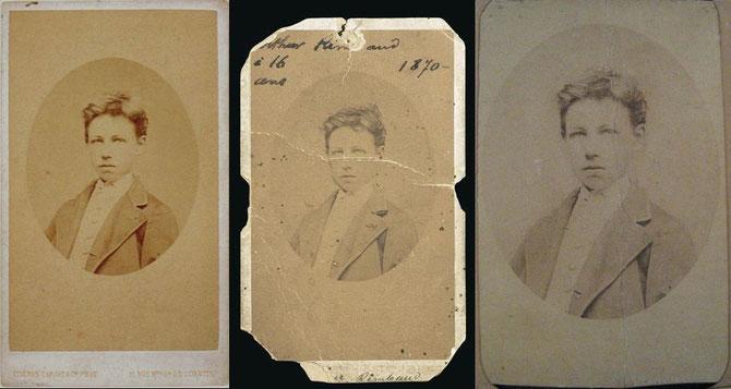 Arthur Rimbaud. Copie d'epoca (su carta) della nota fotografia di Carjat