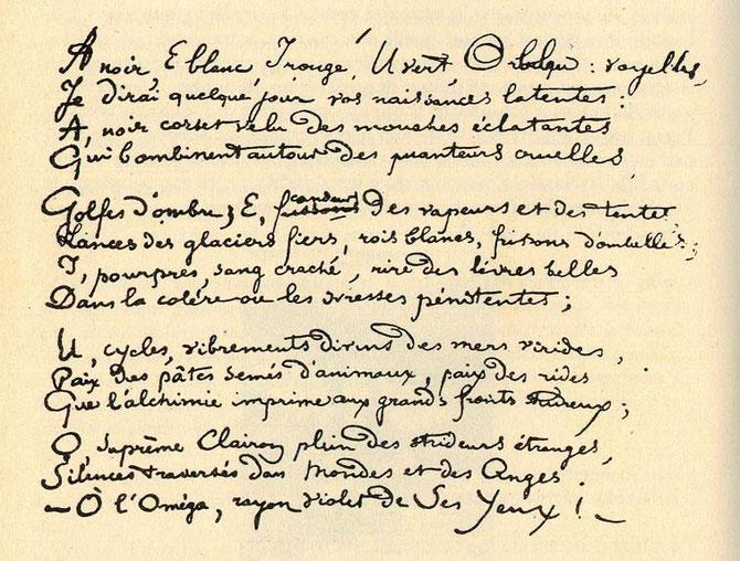 """Manoscritto della poesia """"Vocali"""""""