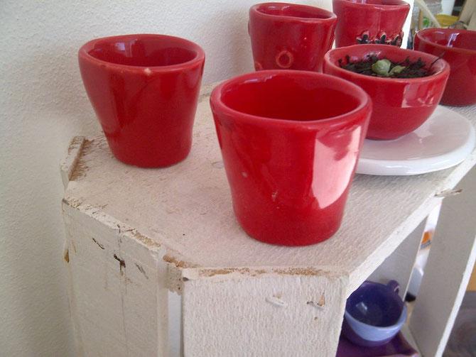 Tazzine e ciotole in ceramica Rosso Cuore Le Terre di Rò