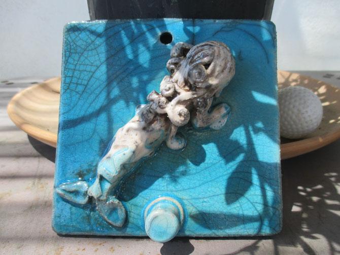 Appendino Sirena in Cerarmica Raku Le Terre di Rò (10x10 cm)