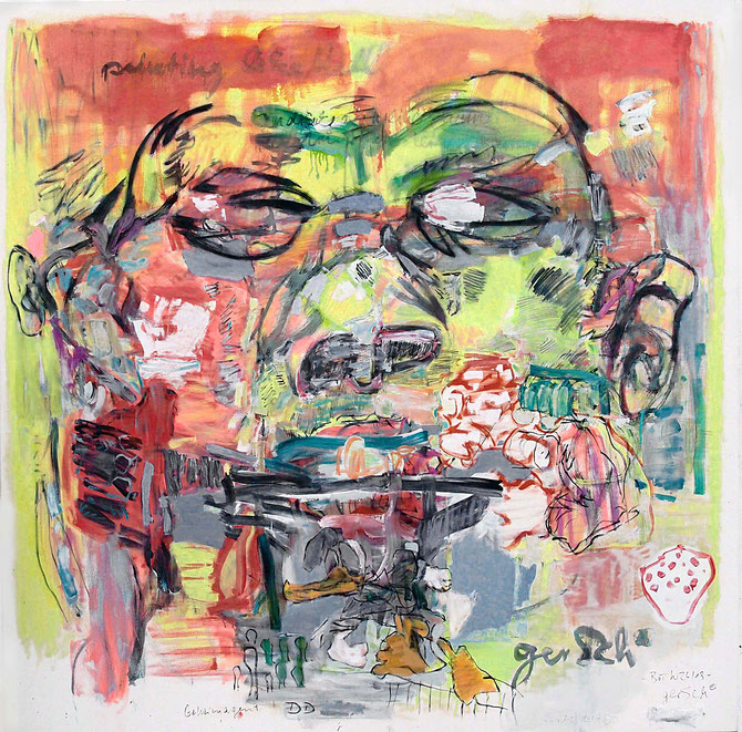 "gerSCh*   2013    ""Painting like Hell""     Öl auf Nessel  180x180cm"