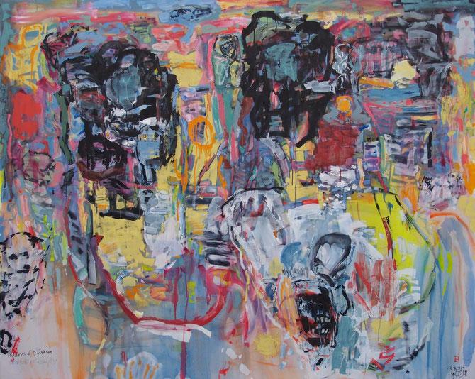 """gerSCh*  2016    """"Patterns of Nirvana""""        Öl auf Nylon    160x200cm"""