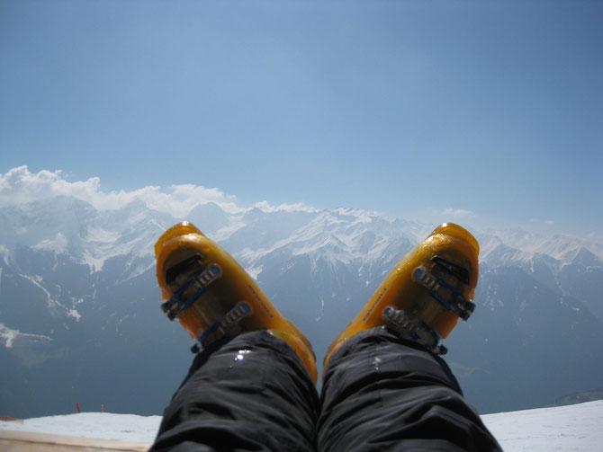 Bequeme Skischuhe mit Ausblick