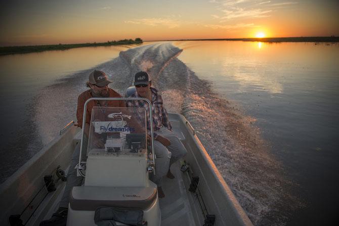 Fly fish North Argentina, FFTC.club saltwater destination, Skiff of Parana River Cruiser, Golden Dorado Action, Fly fish adventure destinations