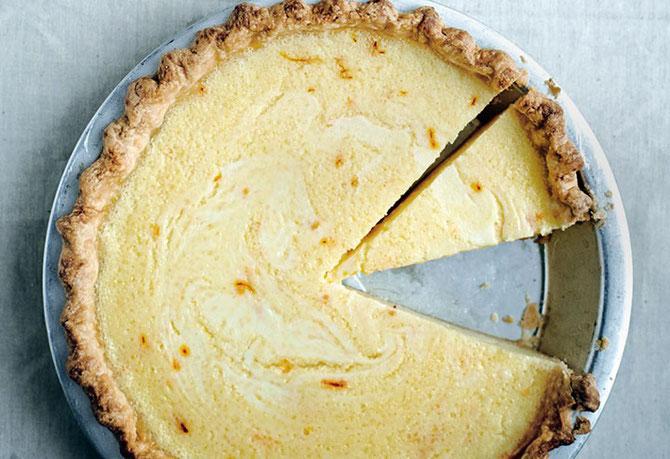 Lemon-Buttermilk pie with Saffron . . .