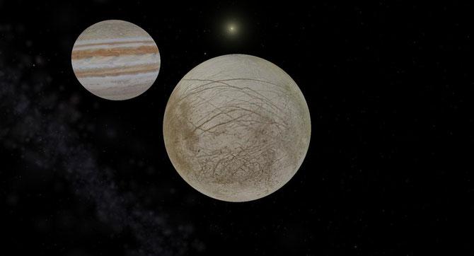 Der Mond Europa im Vordergrund. Dahinter der Gaßplanet Jupiter.