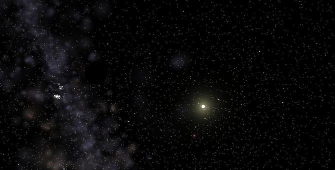 Im Hintergrund ein Arm der Milchstraße, rechts die Sonne und dazwischen Antagonien. Na findet ihr es?