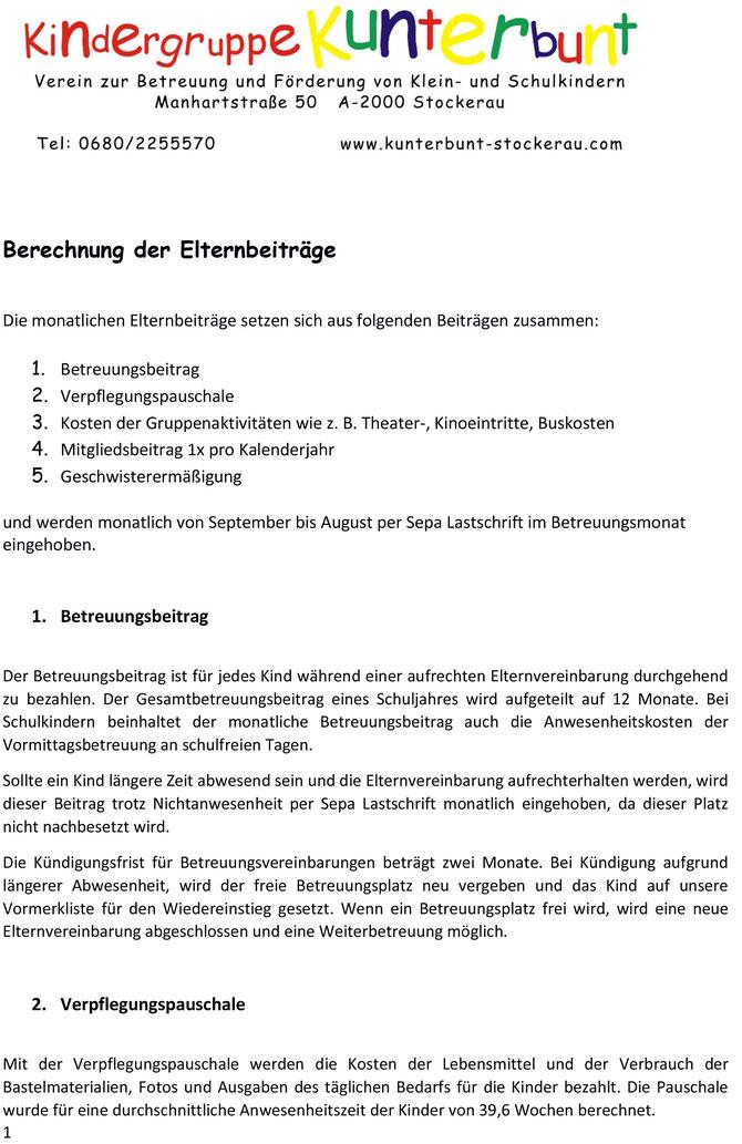 Info Beiträge Kindergruppe Kunterbunt Stockerau