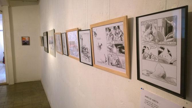 Une partie de l'exposition à la Librairie Humus de Lausanne