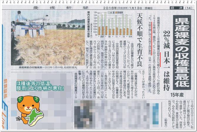 愛媛新聞 2016.1.13 掲載記事より抜粋!