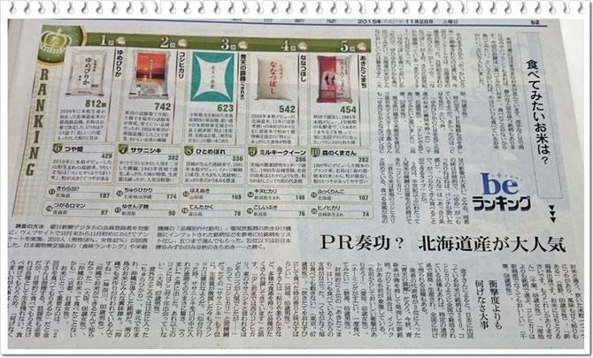 朝日新聞 11月28日掲載