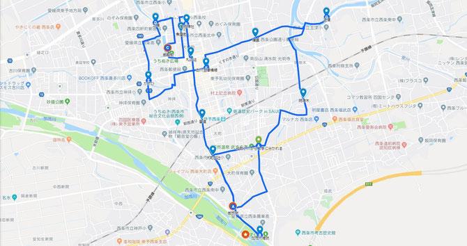 伊曽乃神社例大祭 10月16日運行コース