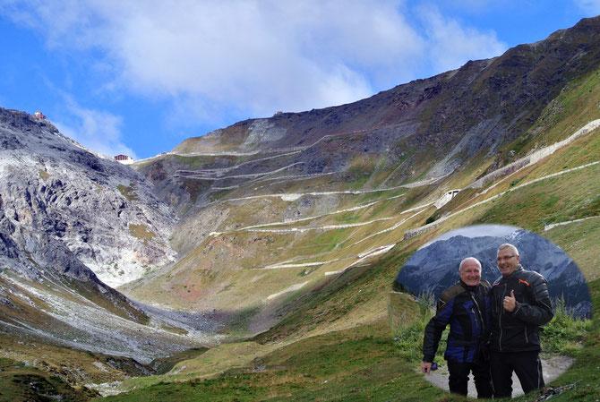 """Passo di Stelvio diesmal von unten - mit den """"alten Heizern"""" Christian & Gigl"""